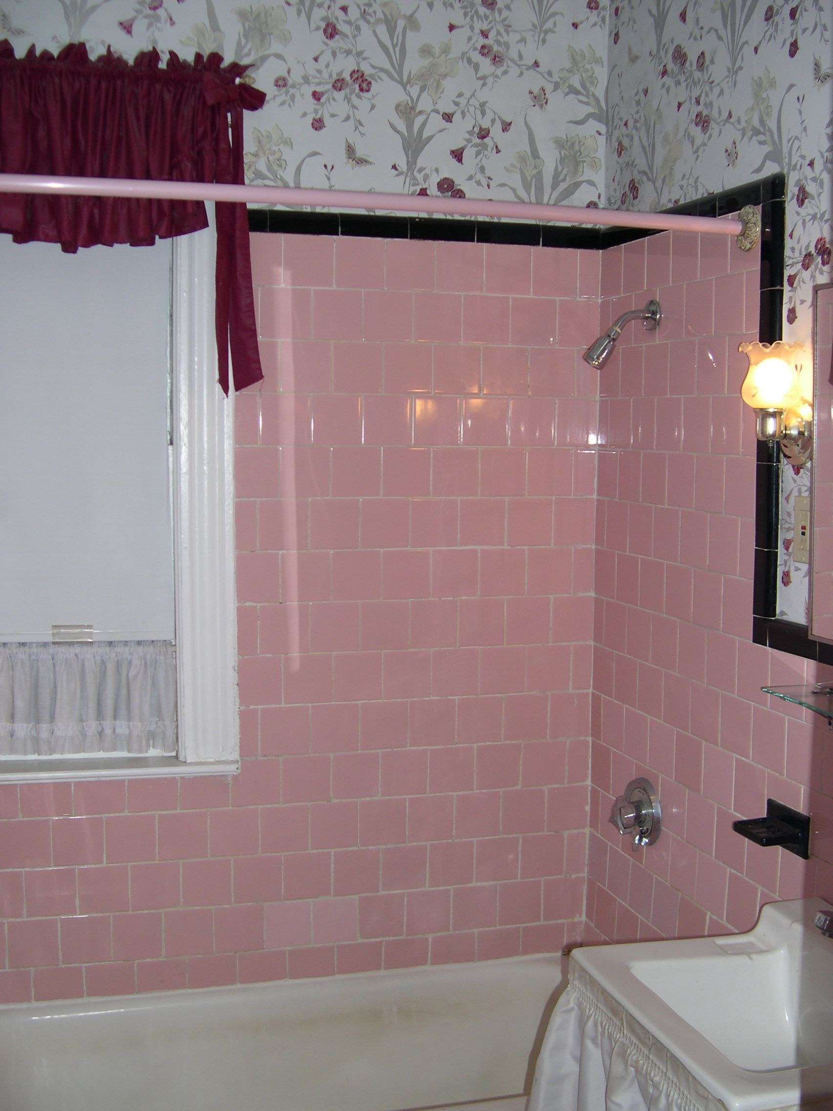 Happy New Year And The Pink Tile Bathroom Is Back Pink Bathroom Tiles Unique Bathroom Design Bathroom Design