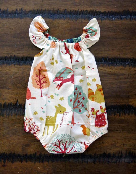8113c1bae85 Baby girl bubble romper   Organic baby romper   Flutter sleeve ...