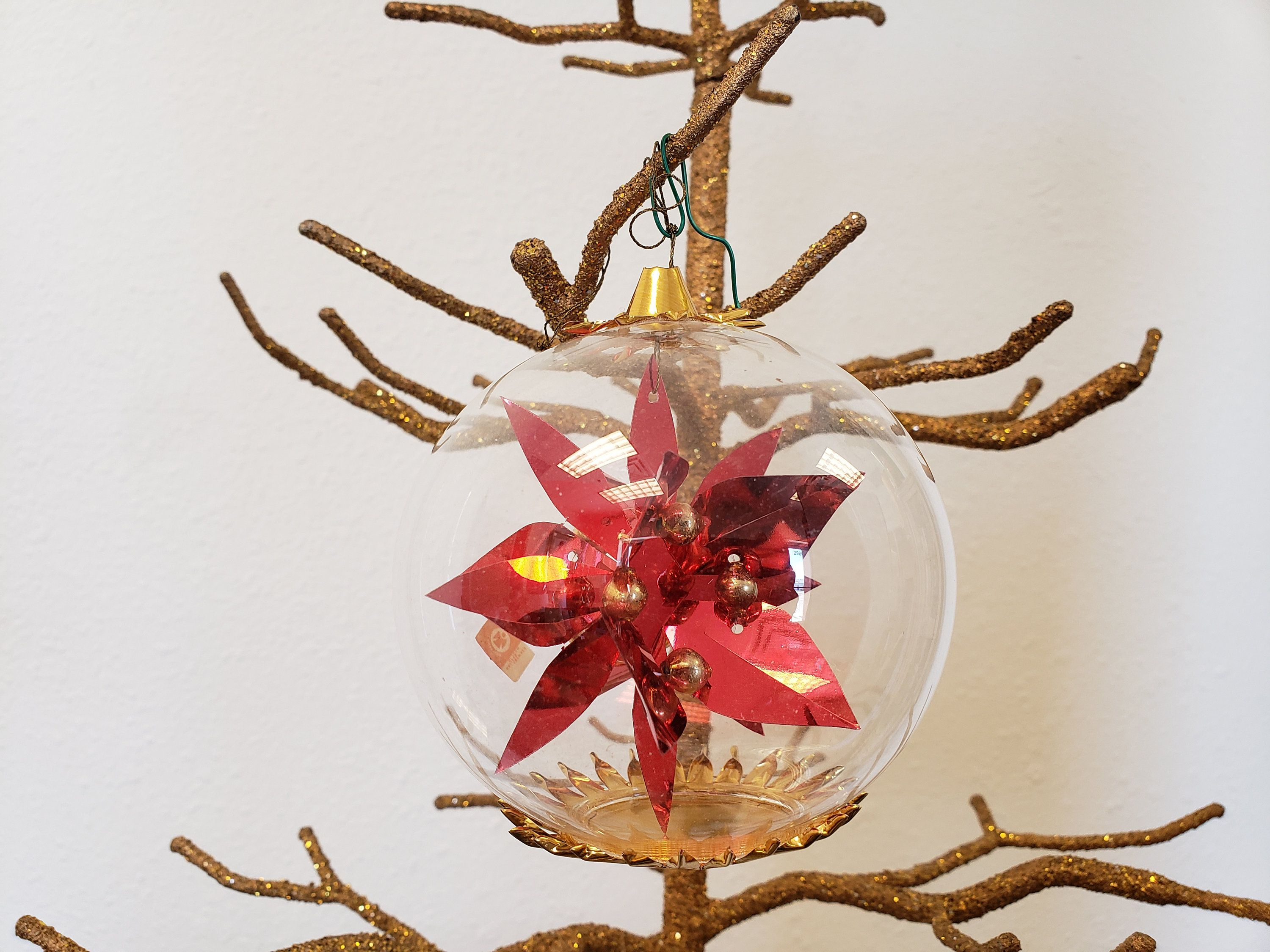 German Blown Glass Ornament / Red & Gold Poinsettia Tree