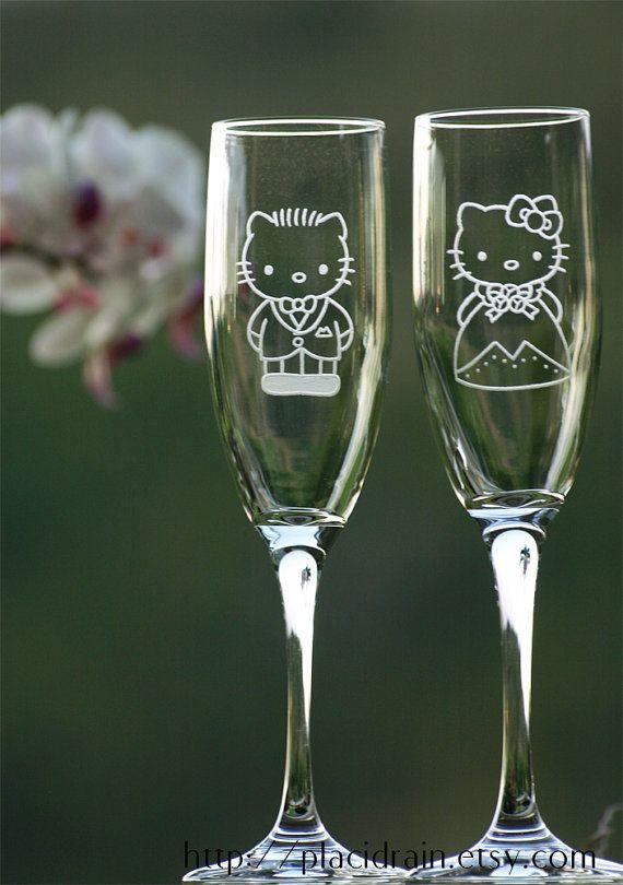 Set de taças de champanhe: Hello Kitty e seu querido Daniel