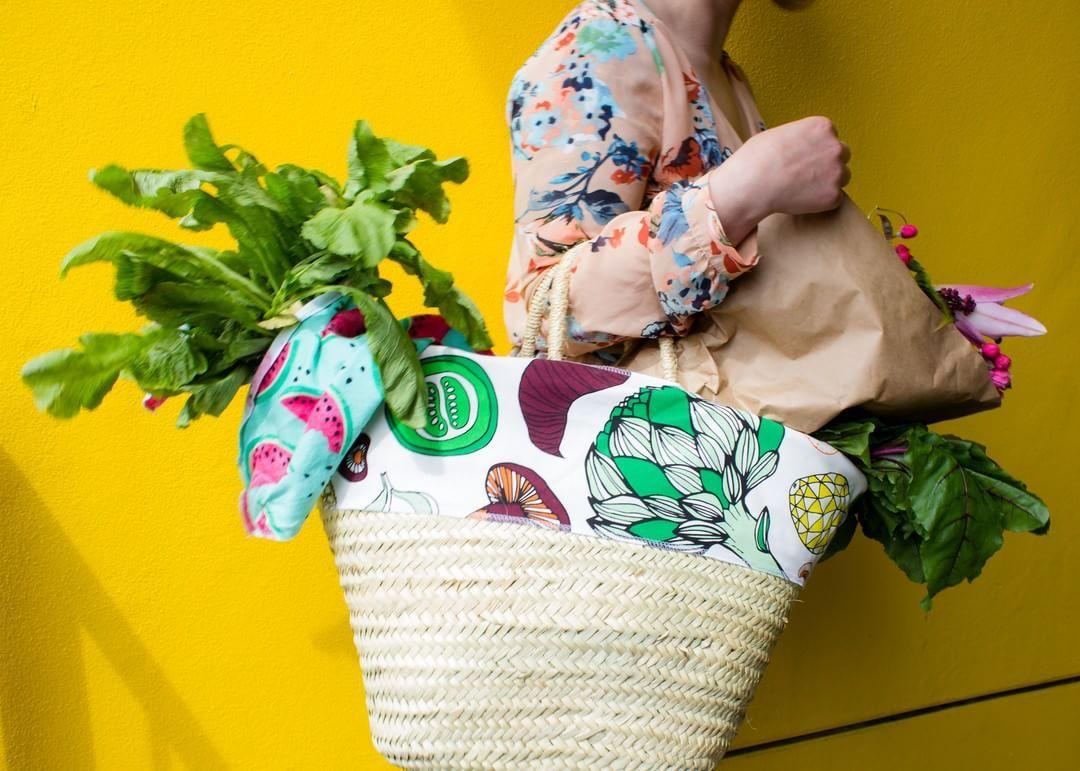 Picnic Basket Bags Straw Bag For Farmers Market Produce Bag