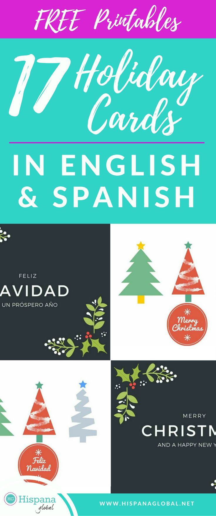 20 free printable holiday cards in english and spanish