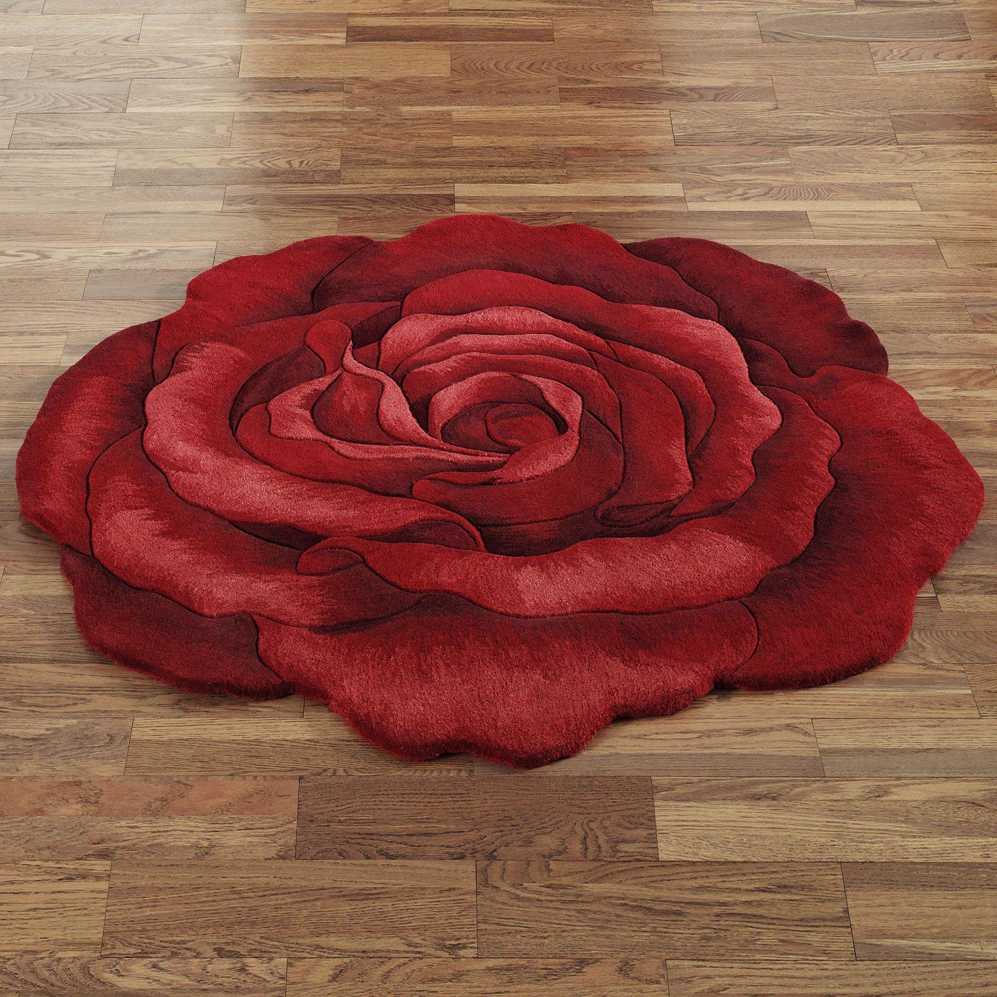 Red Rose Bath Rugs Is True Beauty Of