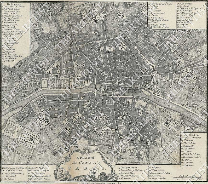 large vintage historic a plan of the city paris france 1800 old style street map
