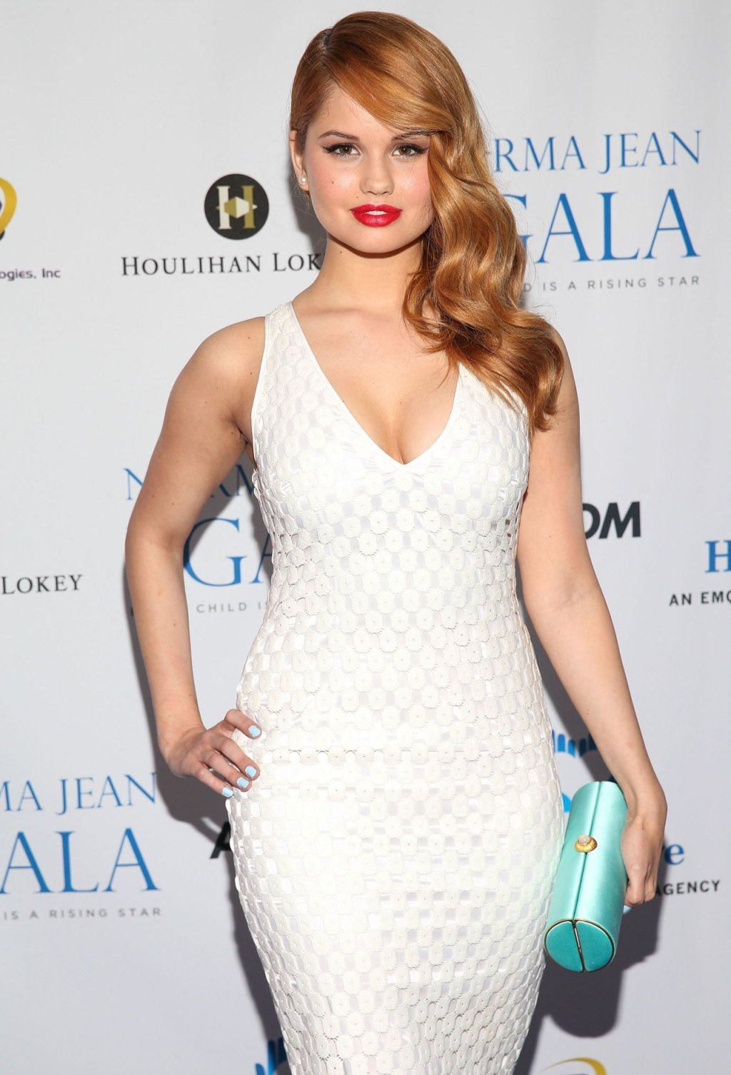 Debby Ryan #cleavage in a white dress at the Norma Jean gala ...