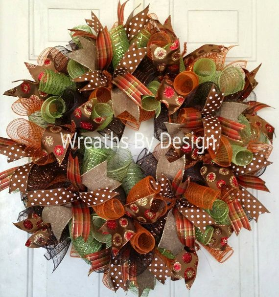 Front door wreath, fall Wreath,Wreaths, Home Decor https://www.etsy.com/listing/240480926/fall-wreath-front-door-wreath-mesh