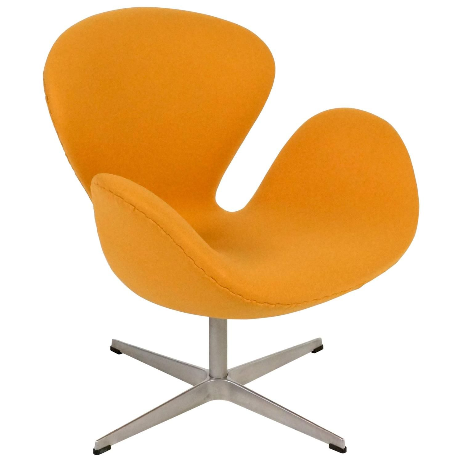 Yellow Swan Chair Jacobsen on Swivel Base 1stdibs
