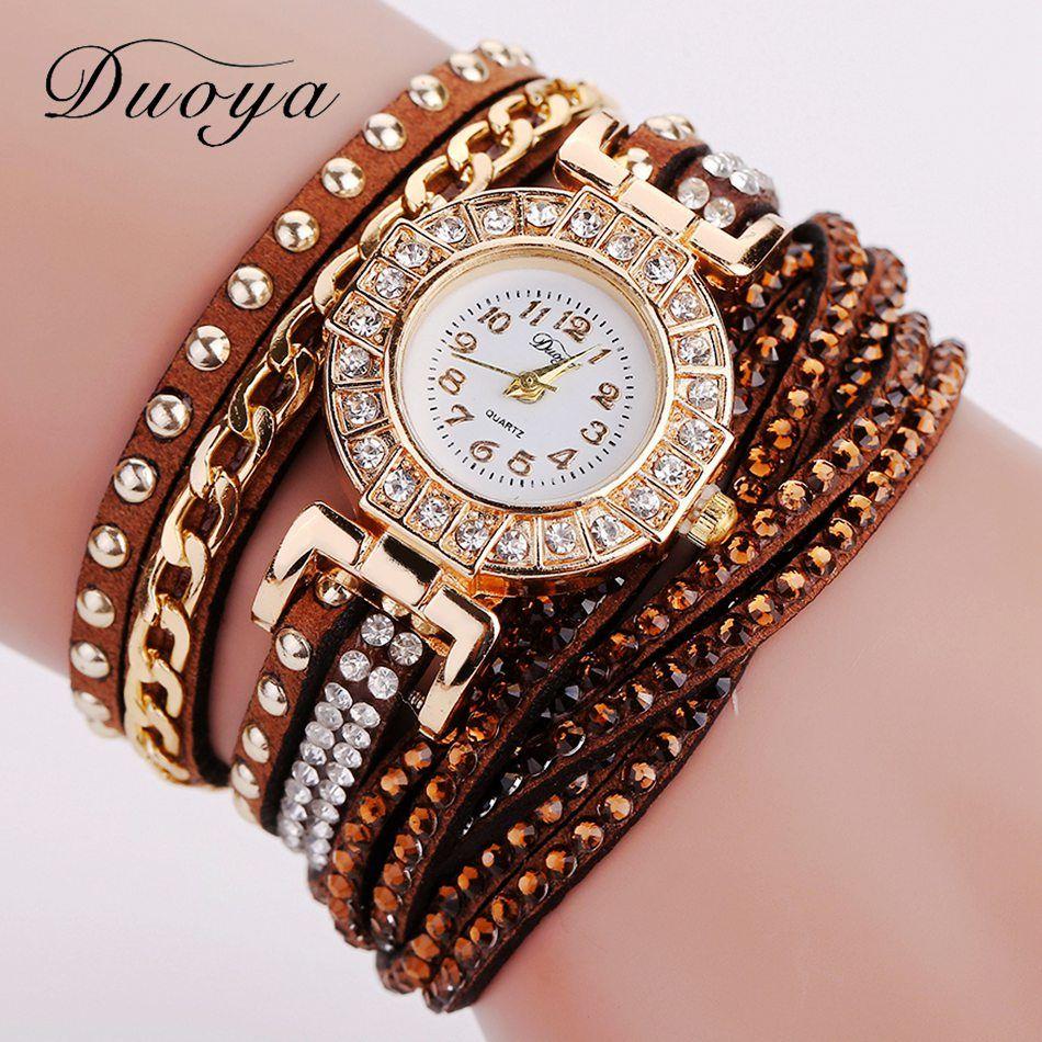 Duoya watch women brand luxury gold fashion crystal rhinestone