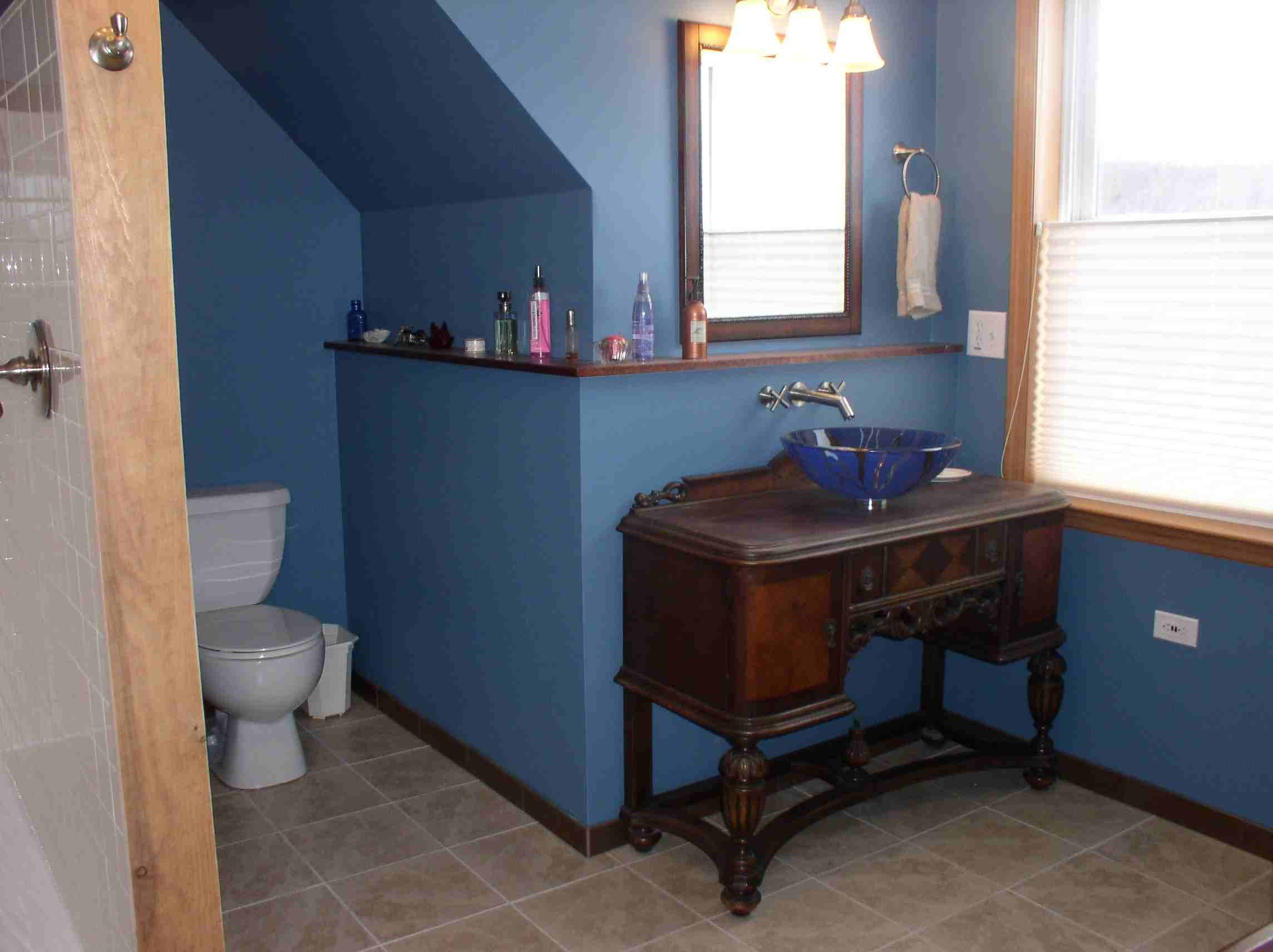 Master Suite bathroom built in 2008 by myself and husband. Paint is ...