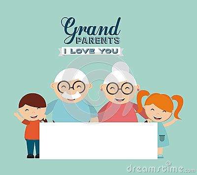Vector Illustration about Happy grandparents day