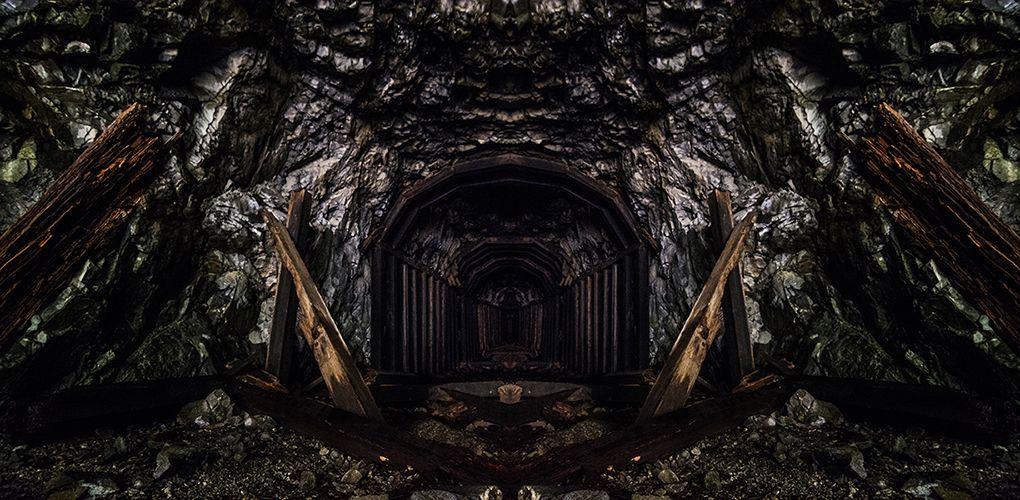 Abandoned Railroad Tunnel Reflection Photo, Abandoned
