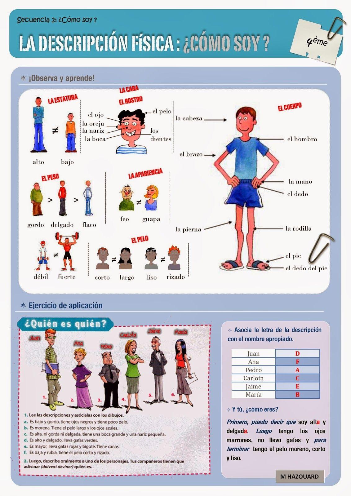 Clase De Espanol Vocabulario De La Descripcion Fisica