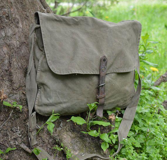 Distressed canvas bag  Vintage army canvas bag  Messenger