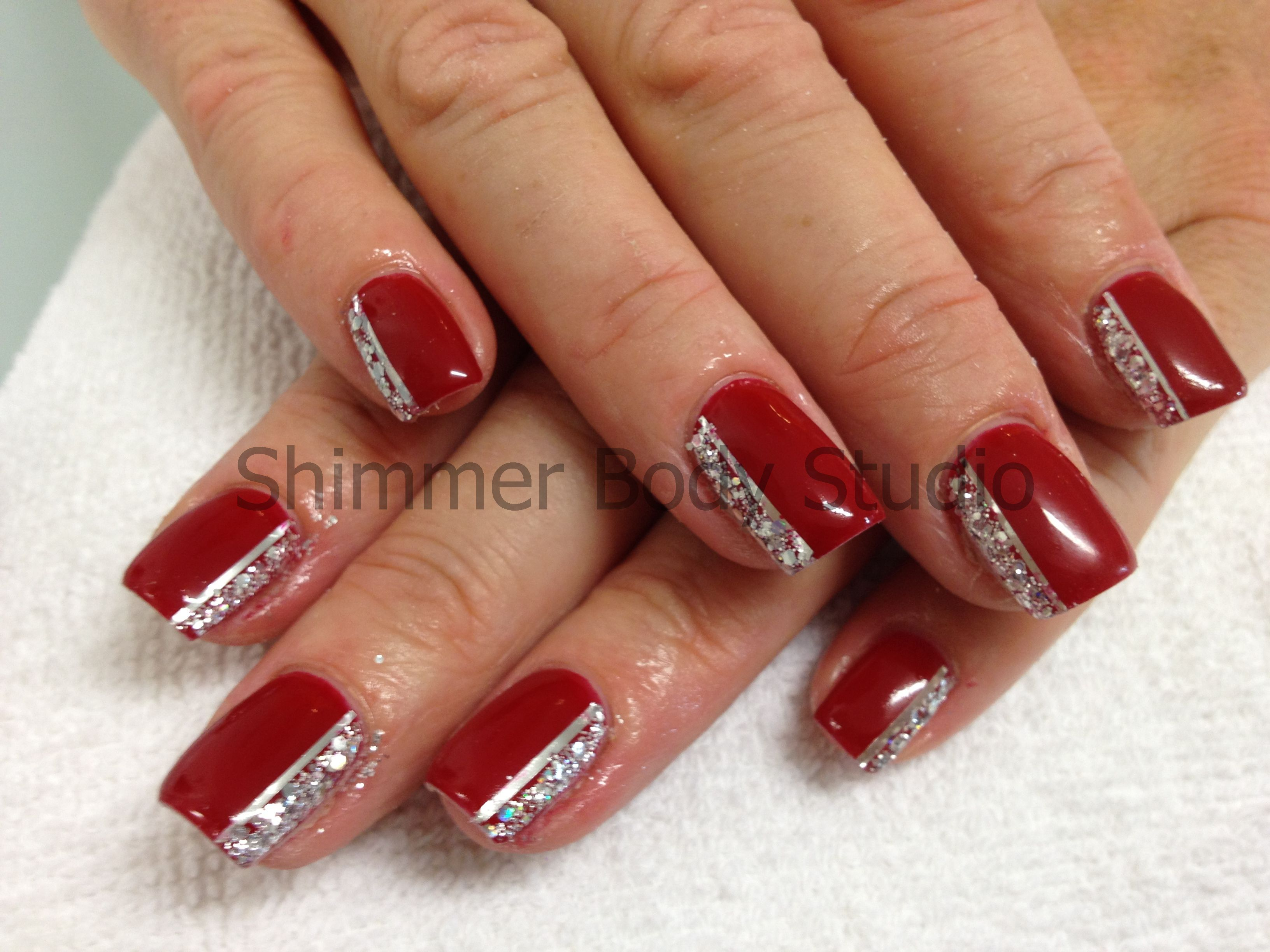 Gel Nails Red Nails Red Gel Silver Glitter Nail Art By Shimmer
