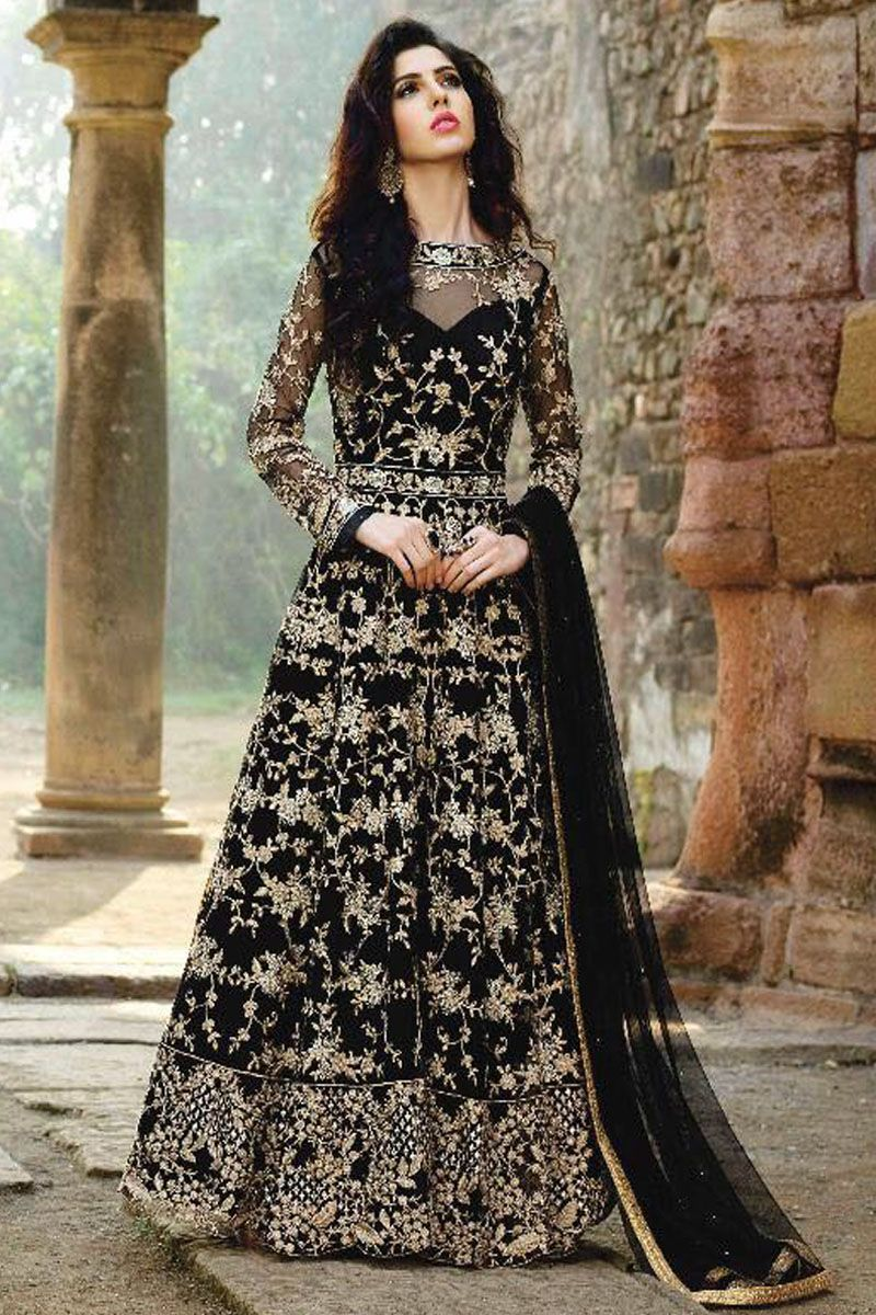 8d91540427 Attractive Black Heavy Embroidered Designer Wear Occasionally Fancy Stylish Party  Wear Indian Women Fashion Wedding Wear Beautiful Anarkali Suit ...