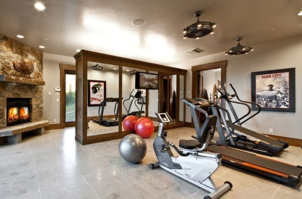 An old two car garage turned into spacious home gym home gym