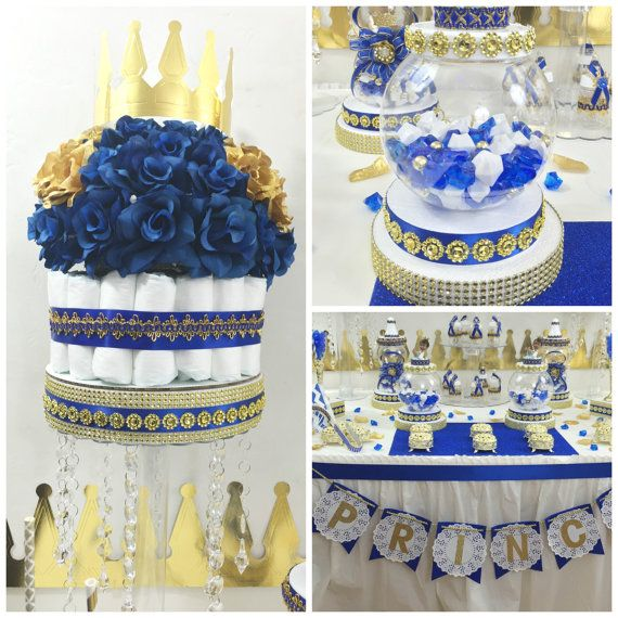 Royal Blue Baby Shower Theme: Royal Prince Baby Shower Candy Buffet Centerpiece / Oh