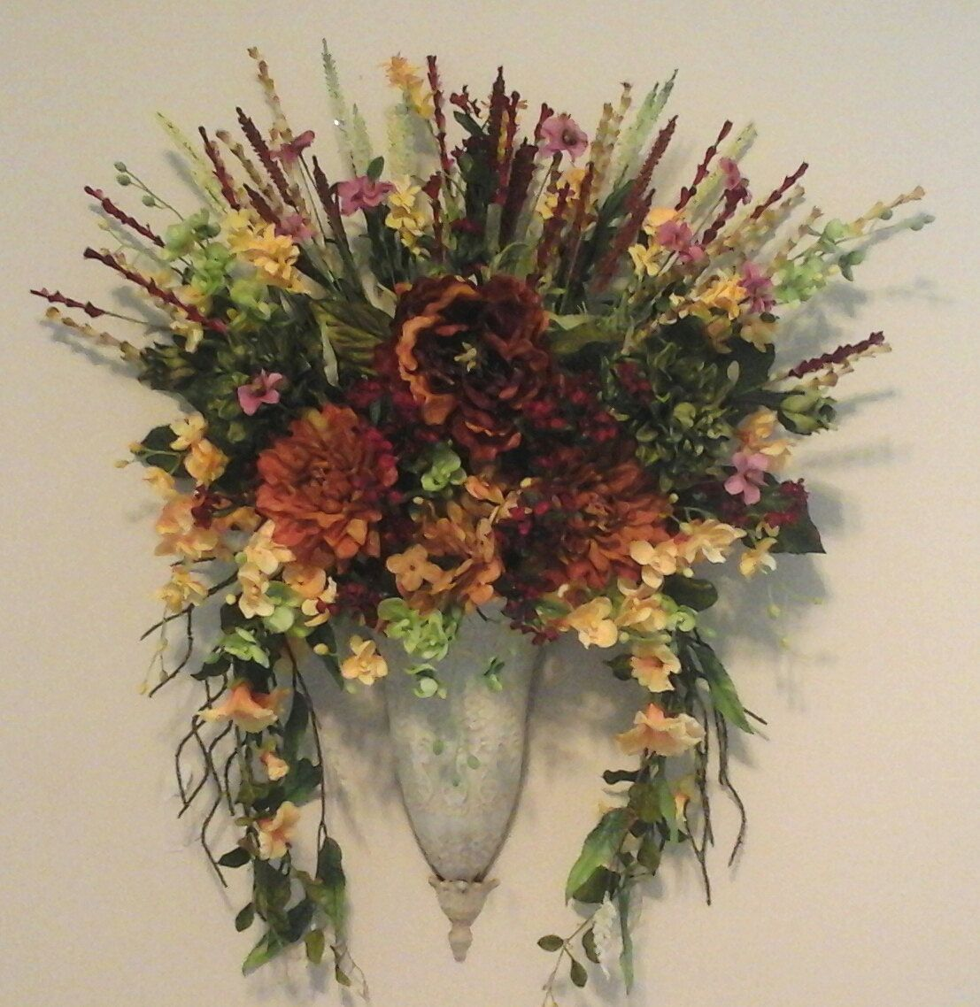 Pin on Wreaths,Swags Wall Planter Sconce on Pocket Wall Sconce For Flowers id=42026