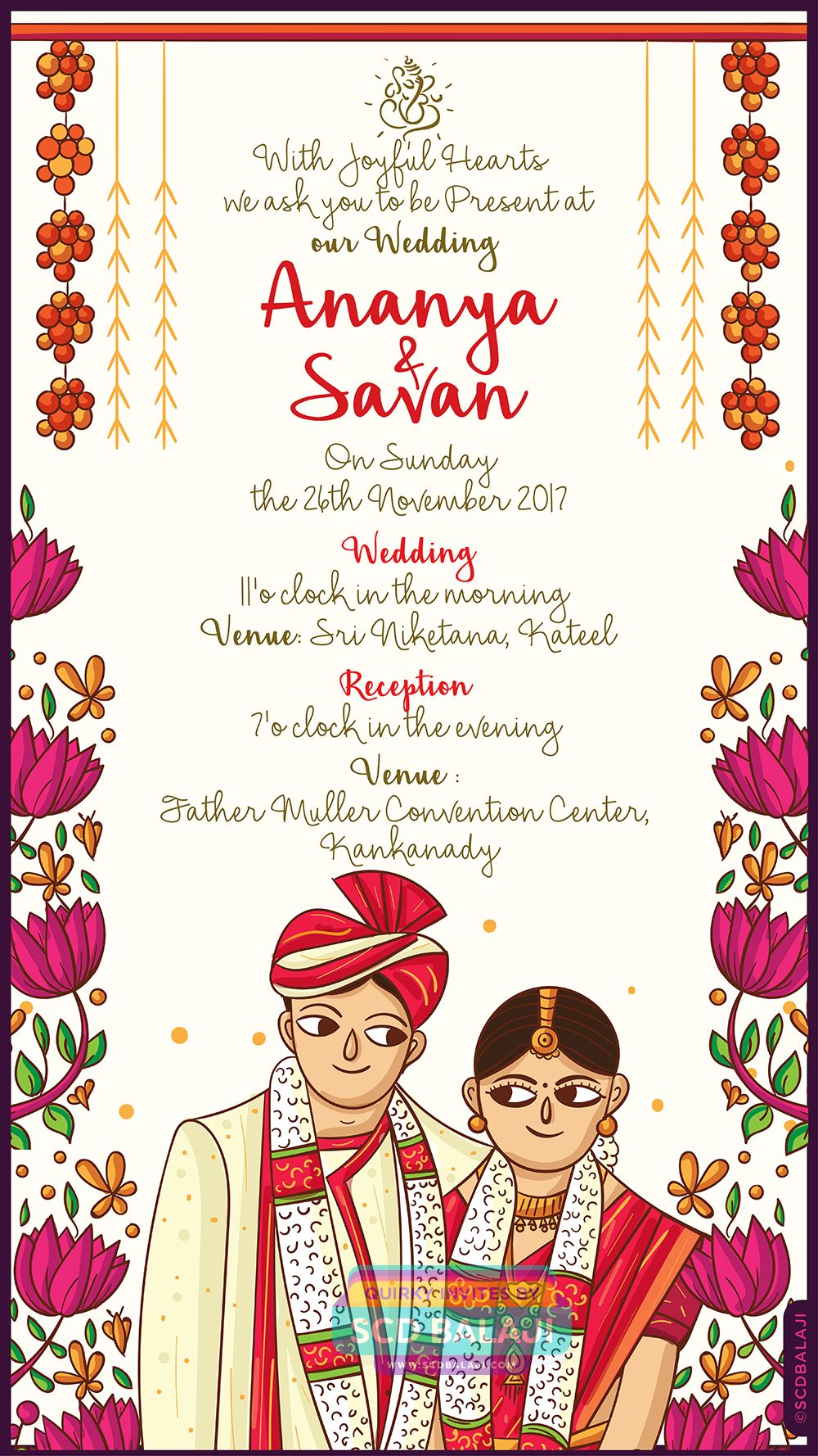 This Creative Mangalore Wedding Invitation Features The Illustration Of A Bea Indian Wedding Invitation Cards Cartoon Wedding Invitations Wedding Card Wordings
