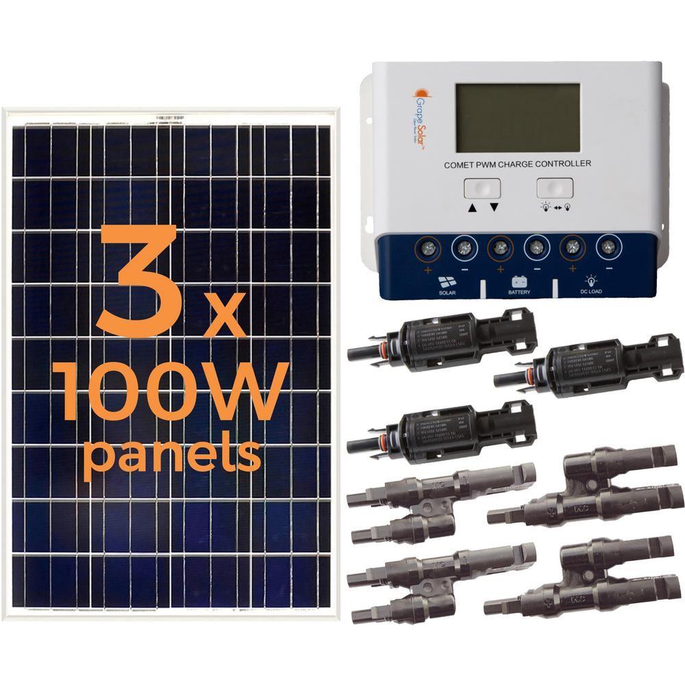 Grape Solar 300 Watt Off Grid Solar Panel Kit Off Grid Solar Panels Solar Panels Solar Projects