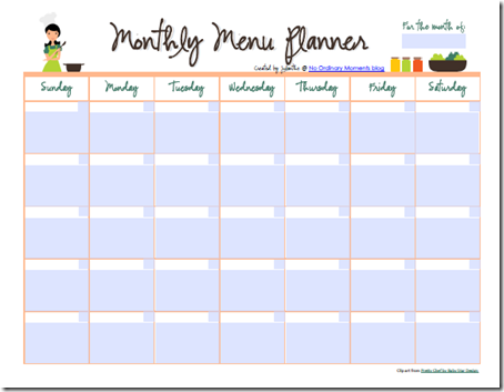 Free editable monthly menu planner recipes menus for Monthly dinner menu template