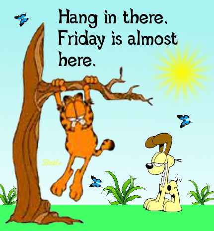 Hang In There Its Almost Friday Quotes Quote Garfield Days Of The