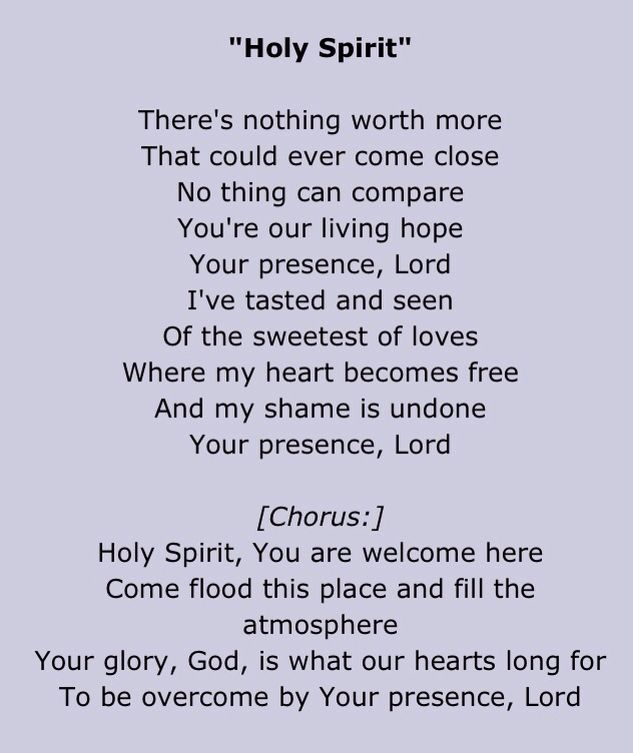 Holy spirit you are welcome here lyrics and chords