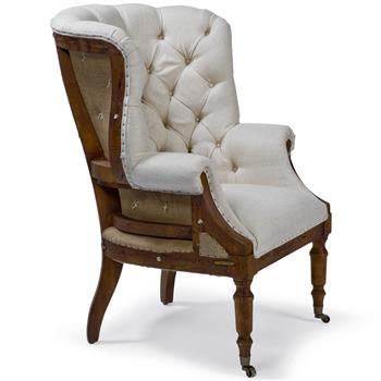 Liesl French Country Deconstructed White Linen Wing Armchair