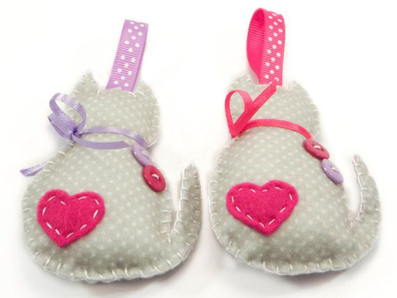 Two Handmade Cat Ornaments made with felt by CuteElephant on Etsy