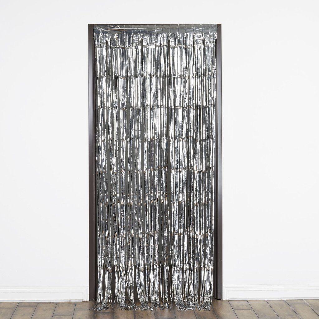 8ft Silver Metallic Foil Fringe Curtain In 2020 Curtain Fringe
