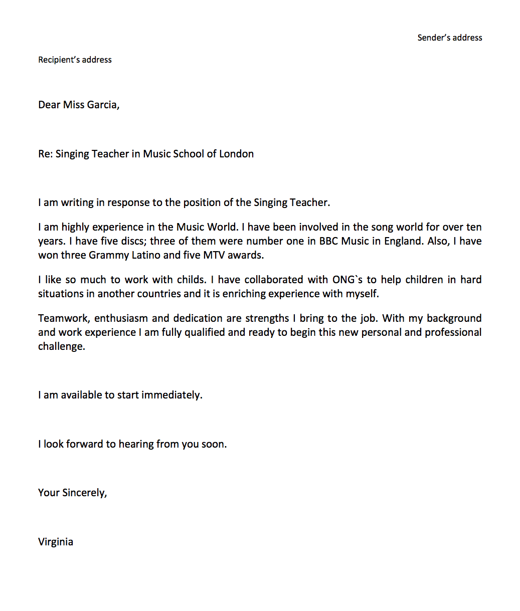 coverletterc cover letter job application email sample and