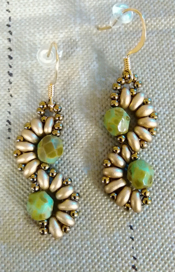 Green and gold earrings Gold Beads and Bead earrings
