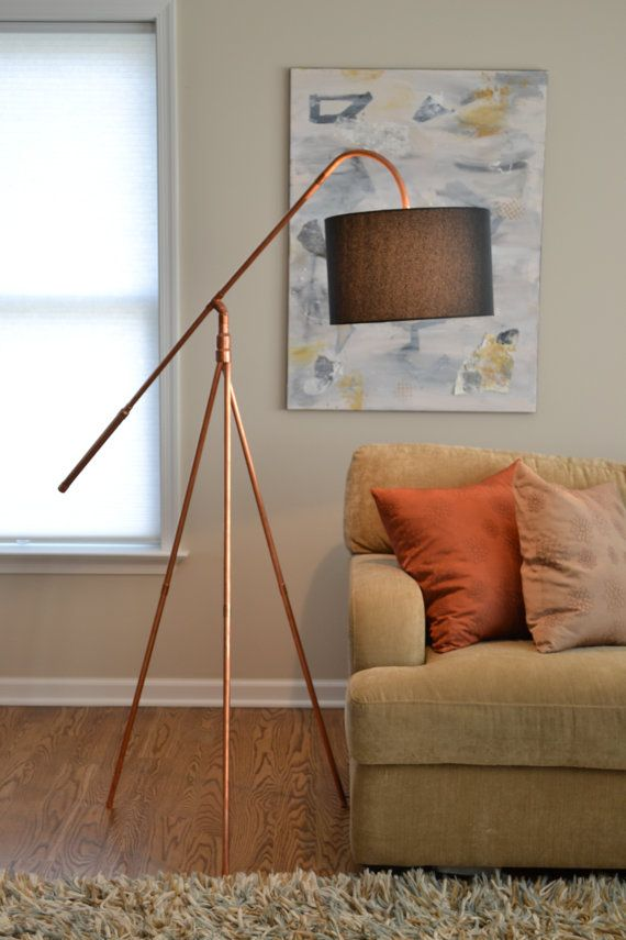 Floor lamp base copper pipe tripod hanging shade industrial copper pipe tube tripod industrial minimalist floor lamp with hanging shade aloadofball Images