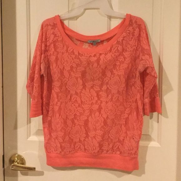 Coral lace blouse Coral pink lace blouse from Charlotte Russe.  Charlotte Russe Tops Blouses