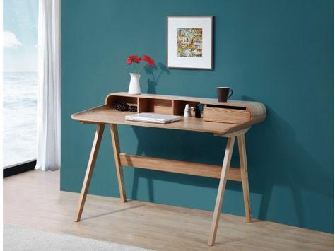Bureau loki tiroir niches pieds frêne naturel meuble