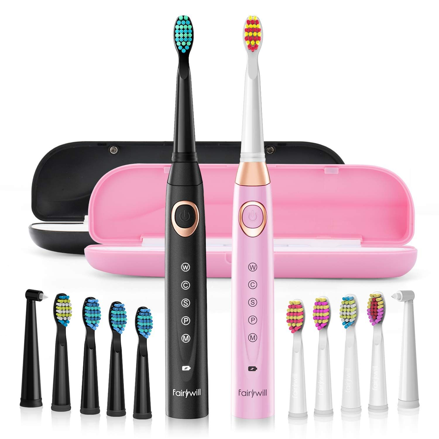 Fairywill S Electric Toothbrush Dual Set Fairywill S Sonic Toothbrush Set Is An Affordable Designed For Multiple U Black Teeth Brushing Teeth Sonic Toothbrush