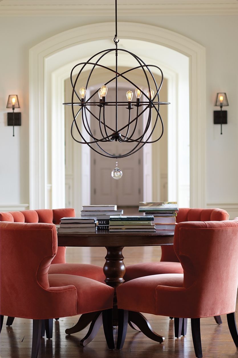 A chandelier adds ambiance and provides general