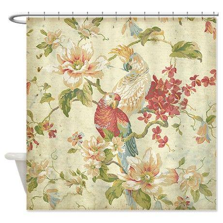 Beautiful Vintage Floral Bird Shower Curtain By Jvande