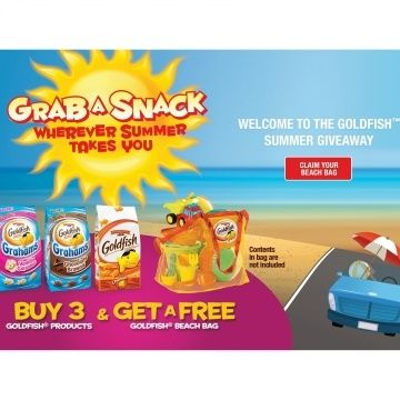 Free Beach Bag With Purchase of 3 Goldfish Crackers Products - Ends July 2016 - goldfish http://www.groceryalerts.ca/free-beach-bag-purchase-3-goldfish-crackers-products-ends-july-2016/