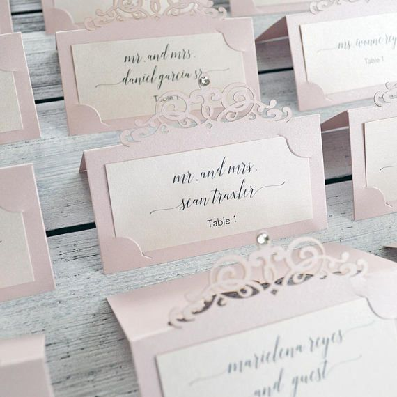 Blush Laser Cut Place Card w/ Crystal Accent - Blush Pink Escort