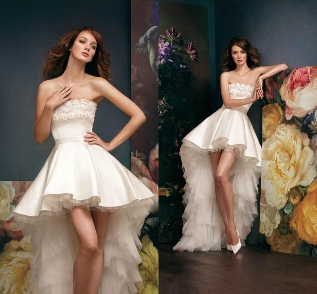 Splendid Strapless Neck With Lace Hand Made Flower Hi Lo Wedding Dresses Satin And Soft Tulle Sexy Real Bride Image Wedding Bridal Gowns #dhgatePin