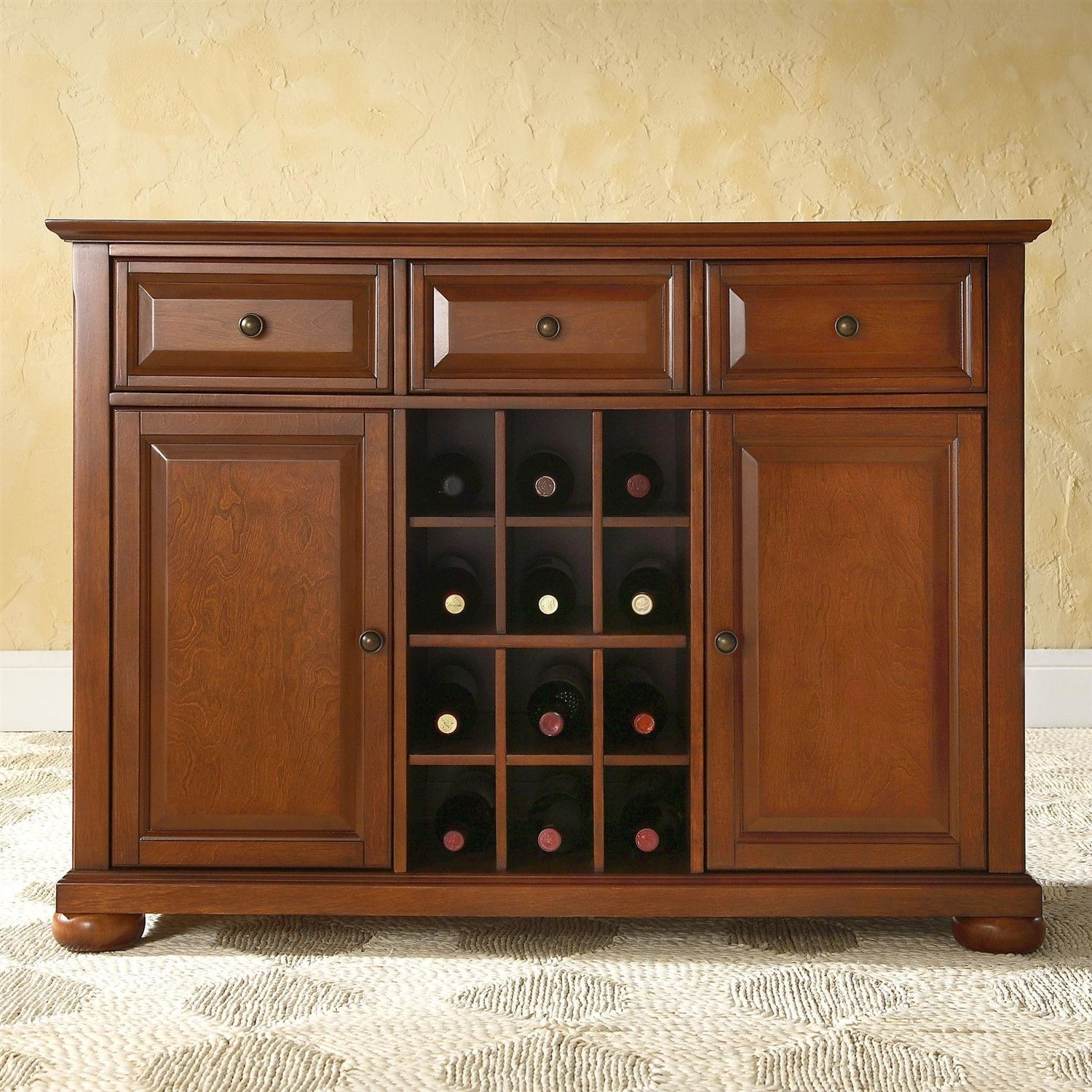 Cherry Finish Sideboard Buffet Table Dining Room