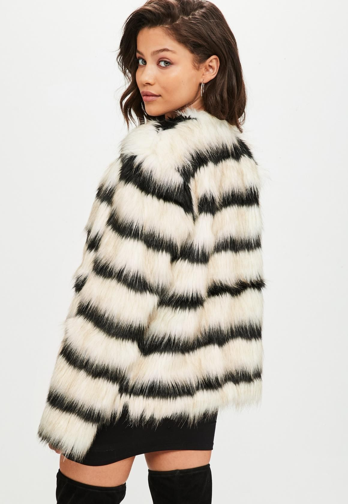 Missguided Cream Striped Faux Fur Coat (With images