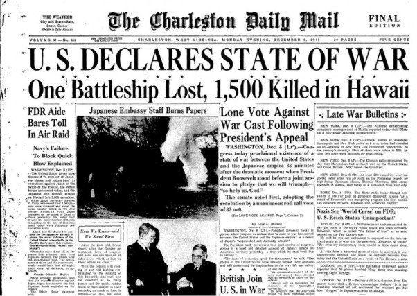 """El 8 de diciembre de 1941 Estados Unidos declaró la guerra a Japón. Ese mismo día, Roosevelt pronunció un discurso en el que calificaba el día anterior como """"fecha infame""""."""