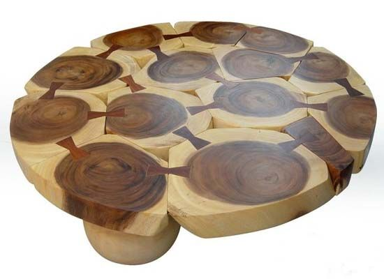 Solid Slab Wood Coffee Table By Thai Furniture