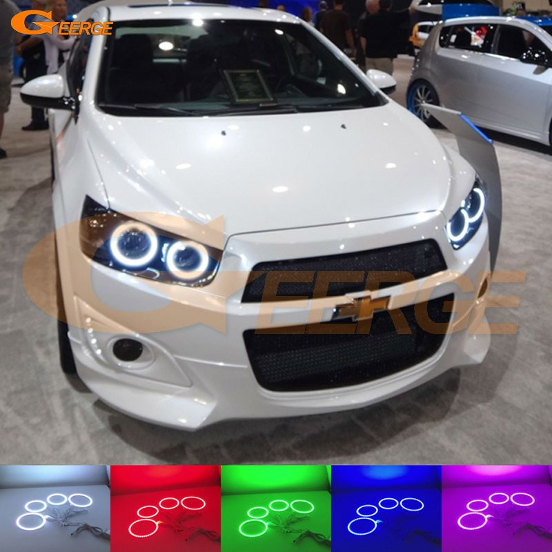 For Chevrolet Aveo Sonic T300 2011 2012 2013 2014 Excellent Angel Eyes Kit Multi Color Ultrabright Rgb Led Angel Eyes Chevrolet Aveo Holden Barina Chevy Sonic