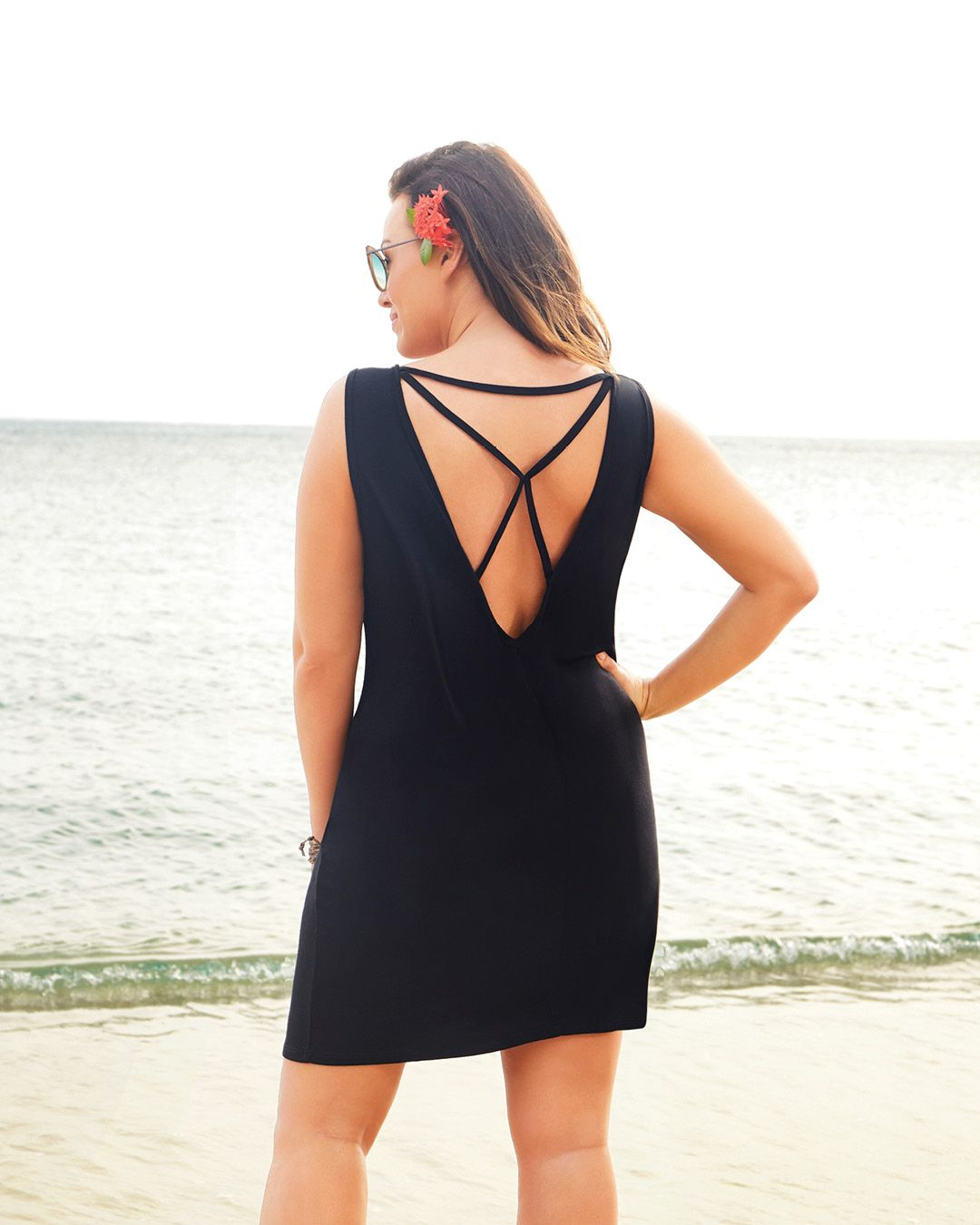 5ca8f07e3e13f Carly Black X-Back Dress in 2019 | Cover Ups For All | Dresses ...