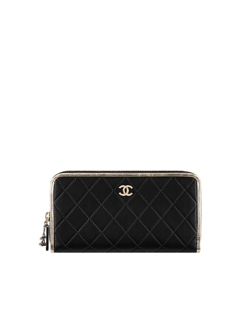 6dc3542b67fd Zipped wallet, lambskin & metallic calfskin-black & light gold - CHANEL