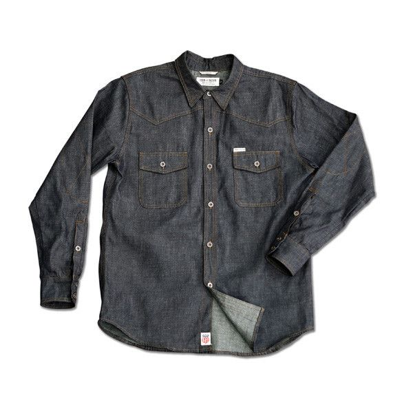 The Iron & Resin denim shirt, the Saddleback. Classic, durable and 100% made in the USA.