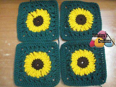Sunflower Granny Crocheted Sunflower Granny Square Free Crochet